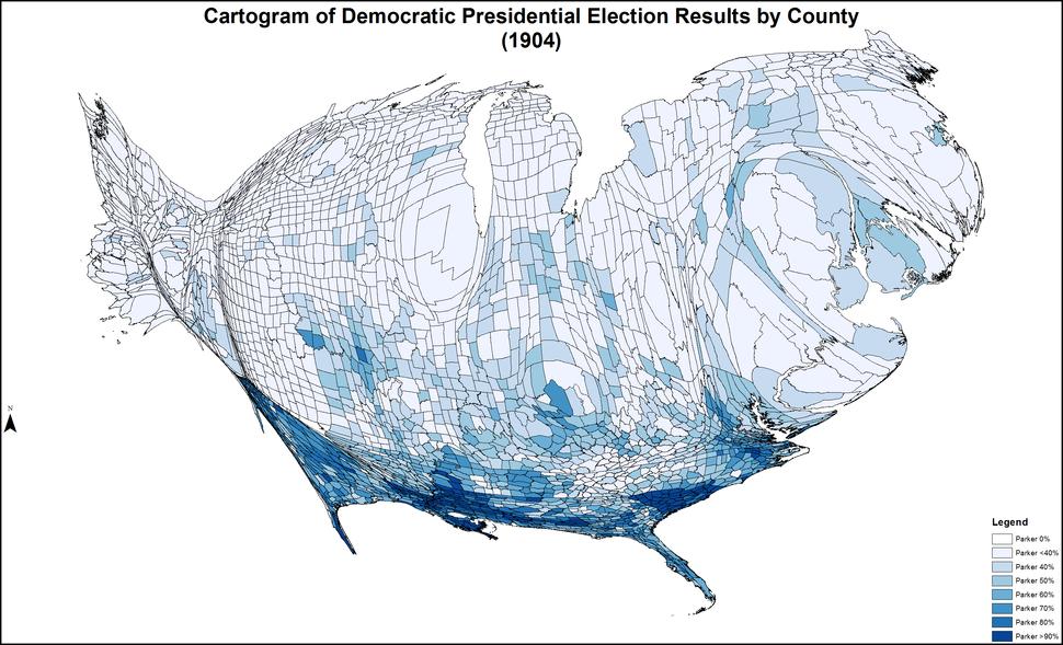 CartogramDemocraticPresidentialCounty1904Colorbrewer