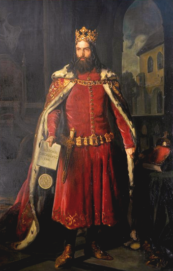 Casimir III the Great is the only Polish king to receive the title of Great. He built extensively during his reign, and reformed the Polish army along with the country's legal code, 1333-70. Casimir the Great by Leopold Loffler.PNG