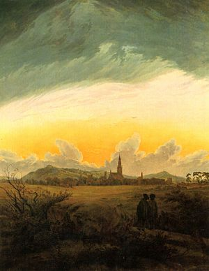 Mecklenburg - Neubrandenburg im Morgennebel, by Caspar David Friedrich
