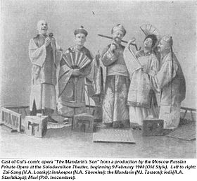 The cast of a production of The Mandarin's Son from 1900