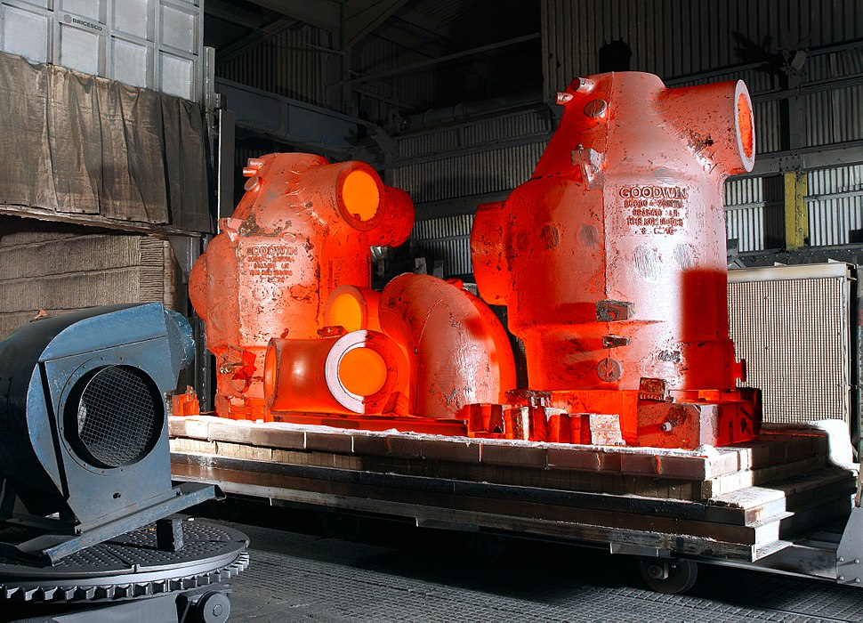 Castings fresh from the heat treatment furnace