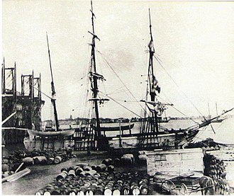 Catalpa rescue - The Catalpa in dock. Note whale oil barrels in the foreground