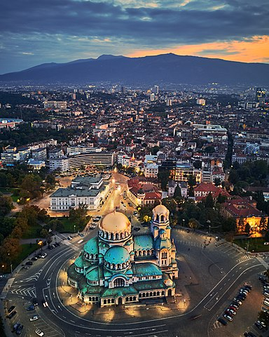 A view over central Sofia, with the Alexander Nevsky Cathedral in the foreground and Vitosha in the distance.