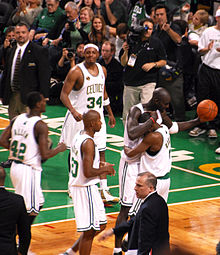 f61fabad3 The Celtics during the tip-off game of the 2008–09 season. Clockwise from  top  Paul Pierce (34)