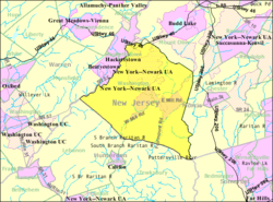 Census Bureau map of Washington Township, Morris County, New Jersey