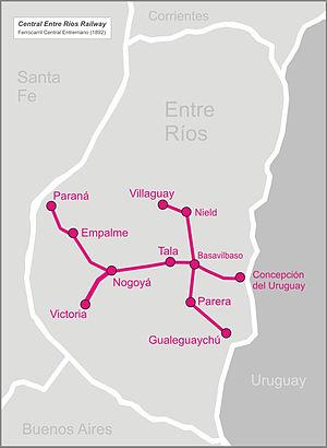 Central Entre Ríos Railway - Image: Central entrerios railw map