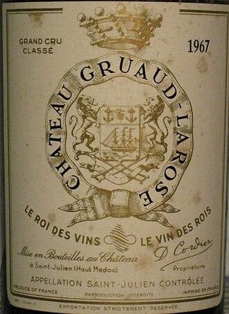 Château Gruaud-Larose - Detail of a Château Gruaud-Larose 1967 label