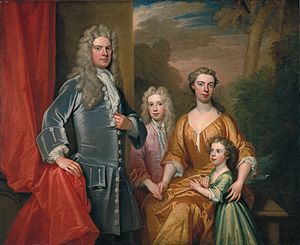 Cassandra Willoughby, Duchess of Chandos - Kneller's 1713 portrait of the Chandos family is believed to show Cassandra rather than the Duke's first wife who was the mother of the two children in the picture.