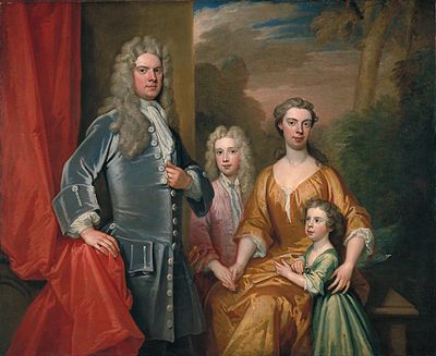 Henry Brydges (later 2nd Duke of Chandos) aged about five, pictured in 1713 with his father James Brydges (later 1st Duke of Chandos), his elder brother John (later Marquess of Carnarvon) and either his mother Mary (died 1712) or his stepmother Cassandra. Chandos-family-by-kneller-1713.jpg