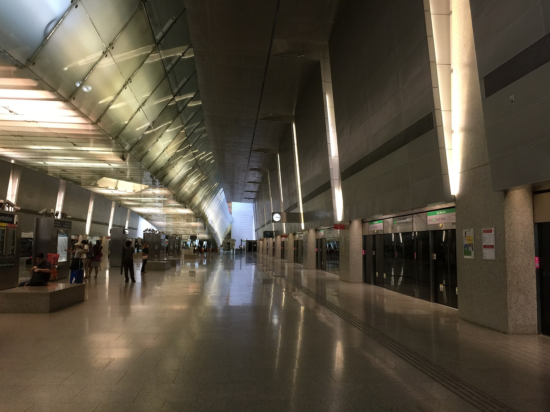 新加坡機場到市區 樟宜機場 地鐵站月台