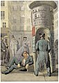 Charles Hoguet Pariser Straßenszene mit Plakatsäule 1860.jpg
