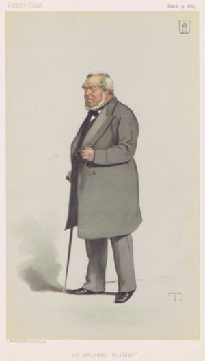 "Charles James Freake - ""an eminent builder"" Freake as caricatured in Vanity Fair, March 1883"