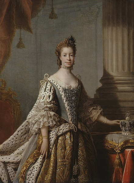 Queen Charlotte by Allan Ramsay, 1761 Charlotte Sophia of Mecklenburg-Strelitz by studio of Allan Ramsay.jpg