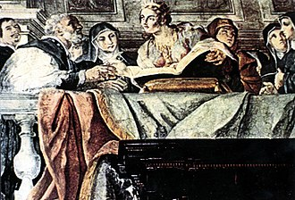 Charlotte, Queen of Cyprus - Charlotte in the centre with the open book