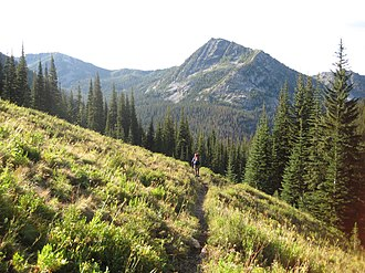 Lake Chelan-Sawtooth Wilderness - A backpacker on the Prince Creek Trail