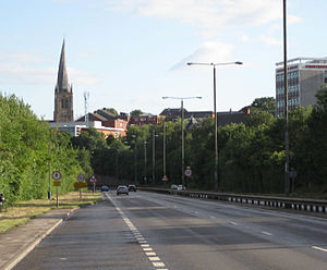 A61 road - Southwards past Chesterfield