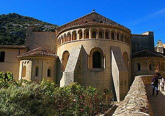 William of Gellone - Romanesque apse of Saint-Guilhem-le-Désert, originally Gellone, the monastery William founded in 804 and entered in 806.