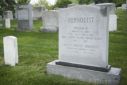 Rehnquist's grave, which is next to his wife, Nan, at Arlington National Cemetery Chief Justice William H. Rehnquist (19300992415).jpg
