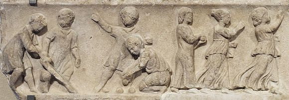 Boys and girls playing ball games (2nd century relief from the Louvre) Children games Louvre Ma99.jpg