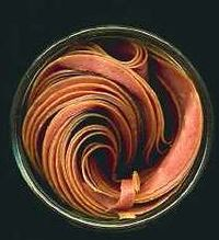 Slices of reddish-brown meat rolled up in a dark round jar, as seen from above