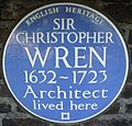 Christopher Wren Hampton Court Green blue plaque.jpg