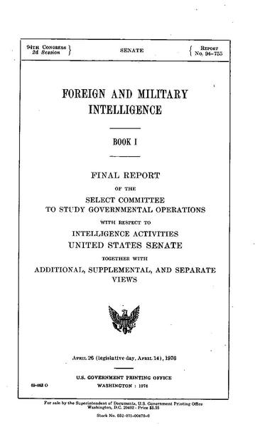 File:Church Committee report (Book I, Foreign and Military Intelligence).pdf