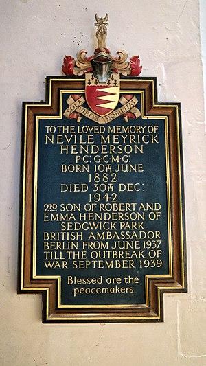 Nevile Henderson - Henderson's memorial in St Andrew's Church, Nuthurst