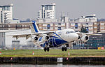Cityjet RJ85 in Leinster Rugby Colours (26326024676).jpg