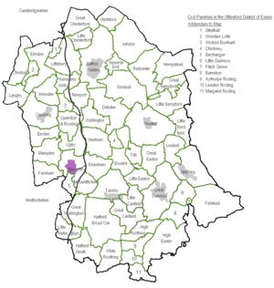 Uttlesford - Civil Parishes map showing the 60 Town and Parish Councils
