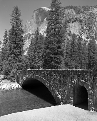 Yosemite Valley Bridges - Clark Bridge, with Half Dome in the background