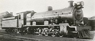 South African Class 14 4-8-2 - No. 1707, as built, at Greyville Sheds, c. 1930