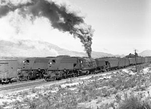 South African Class GEA 4-8-2+2-8-4 - No. 4010 and sister at Steenbras, 13 August 1973