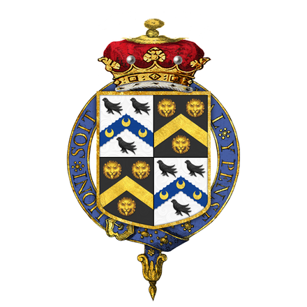 Arms of Charles Watson-Wentworth, 2nd Marquess of Rockingham, KG: Watson quartering  Wentworth (Sable, a chevron between three leopard's faces or)