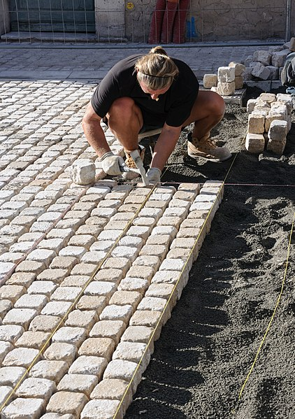 Paving with setts in Vence, Alpes-Maritimes, France