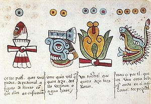 Codex Magliabechiano - The reverse of folio 11 of the Codex Magliabechiano, showing the day signs Flint (knife), Rain, Flower, and Crocodile.