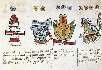 Tonalpohualli - Page 11 reverse from Codex Magliabechiano, showing four day-symbols of the tonalpohualli: (Ce = one) Flint/Knife tecpatl, (Ome = two) Rain quiahuitl, (Yei = three) Flower xochitl, and (Nahui = four) Caiman/Crocodile (cipactli), with Spanish descriptions.