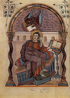 Evangelist portrait - Codex Aureus of Lorsch portrait of Mark with his symbol, around 800