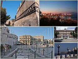A collage of Bari, Top left:Swabian Castle, Top right:Night in Pane e Pomodoro Beach, Bottom left:Ferrarese Square, Bottom upper light:Bari University in Rossi street, Bottom lower right:View of Punta Perotti seaside area