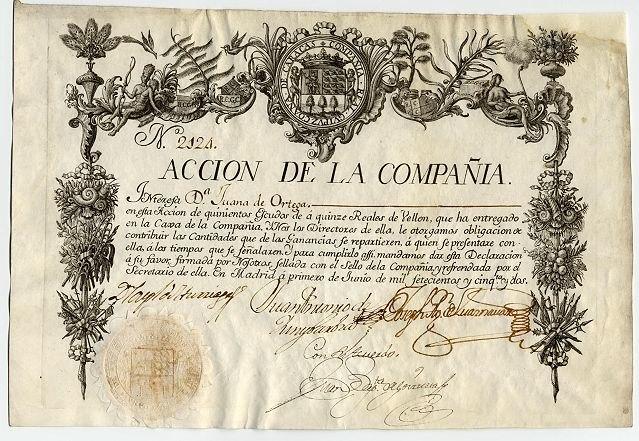 Compania Guipuzcoana Accion 2124 Madrid 1 junio 1752