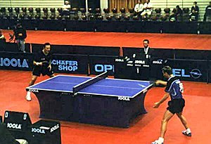 Net sport - A competitive table tennis game.