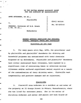 Complaint - Example page from Complaint in Anderson v. Cryovac landmark case.