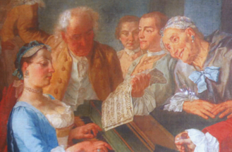 Domenico Scarlatti - Detail of a painting by Gaspare Traversi, showing Scarlatti tutoring Princess Barbara of Portugal