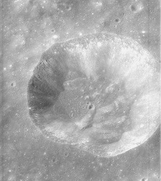 Conon (crater) - Oblique view of Conon facing south from Apollo 15