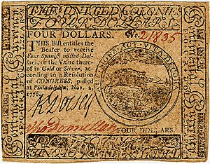 Continental Currency $4 banknote obverse (November 2, 1776).jpg