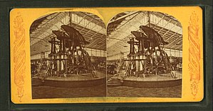 Steam power during the Industrial Revolution - The Corliss Engine displayed at the International Exhibition of Arts, Manufactures and Products of the Soil and Mine of 1876