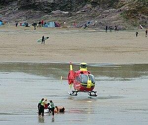 Cornwall Air Ambulance - Landing on Polzeath beach, August 2008