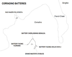 Corradino Batteries - Image: Corradino Batteries map