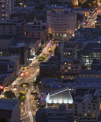 Courtenay Place, Wellington - Courtenay Place at night, view from Mount Victoria
