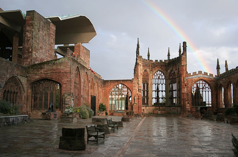 Coventry's old Cathedral ruins with rainbow.