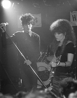 The Cramps: Lux Interior e Poison Ivy dal vivo nel 1982.